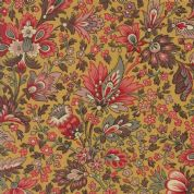 Moda Madam Rouge by French General - 5684 - Stylised Floral on Gold  - 13770 15 - Cotton Fabric
